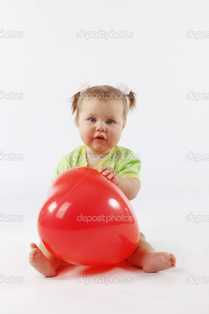 Portrait of cute little baby girl over white — Stock Photo #2788299