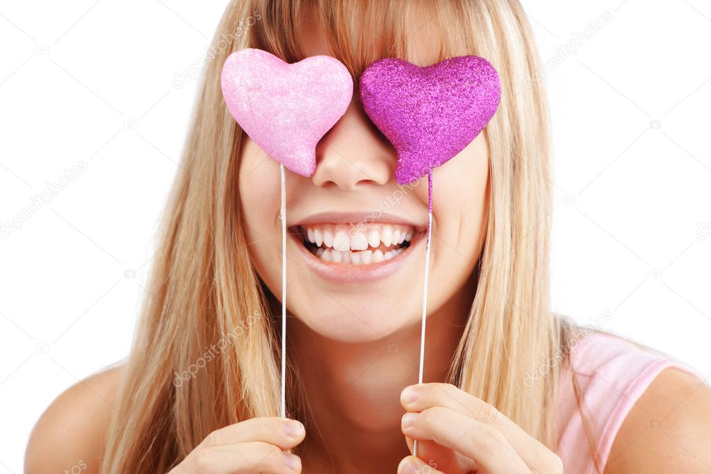 Portrait of beautiful young romantic girl in Valentines day — Stok fotoğraf #2788893