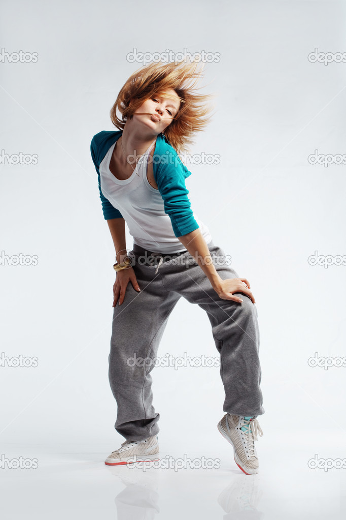 Teenage girl dancing hip-hop studio series — Stock Photo #2790846