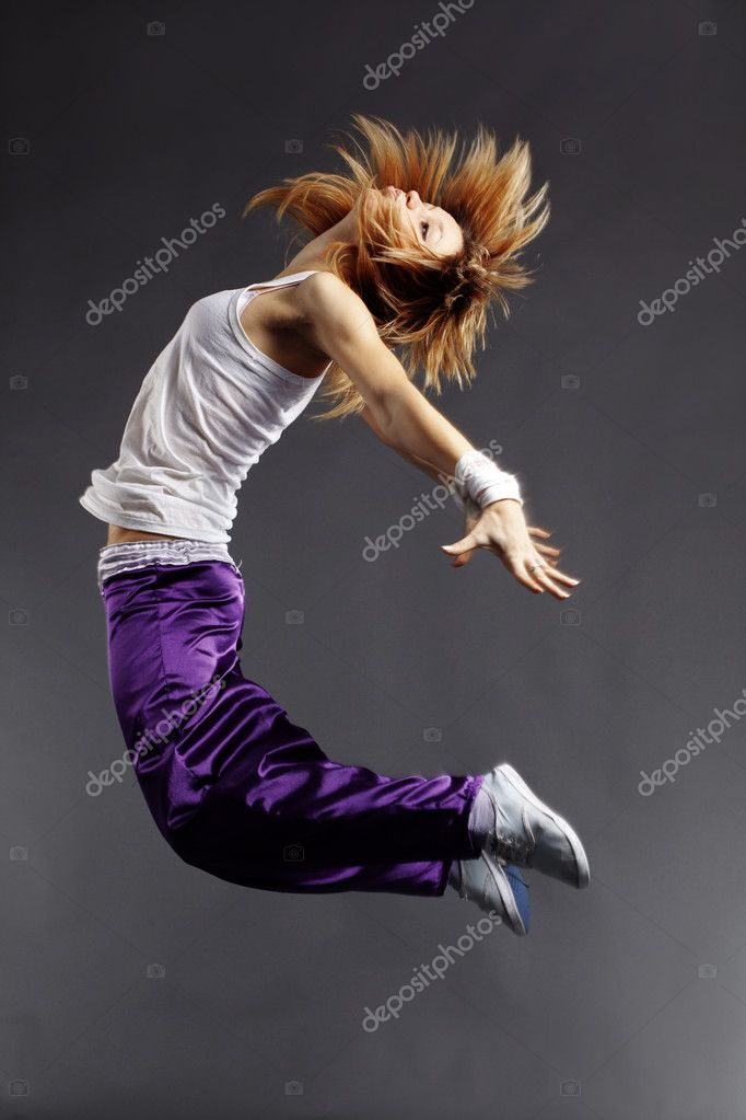Teenage girl dancing hip-hop studio series — Stock Photo #2791495
