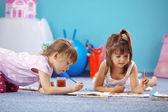 孩子绘图 — 图库照片