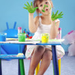Painting kid girl — Stock Photo
