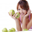 Cute teenage girl with apples — Stock Photo