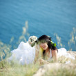 Bride over sea landscape — Stock Photo #3233274