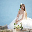 Bride over sea landscape — Stock Photo #3267232