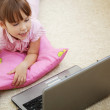 Kid girl with laptop — Stock Photo #3356882