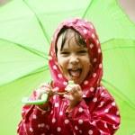 Little girl walking in the rain — Stock Photo #3480646
