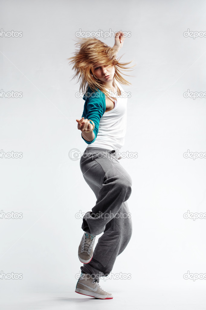 Teenage girl dancing hip-hop studio series — Stock Photo #3519756