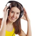 Student girl with headphones — Stock Photo