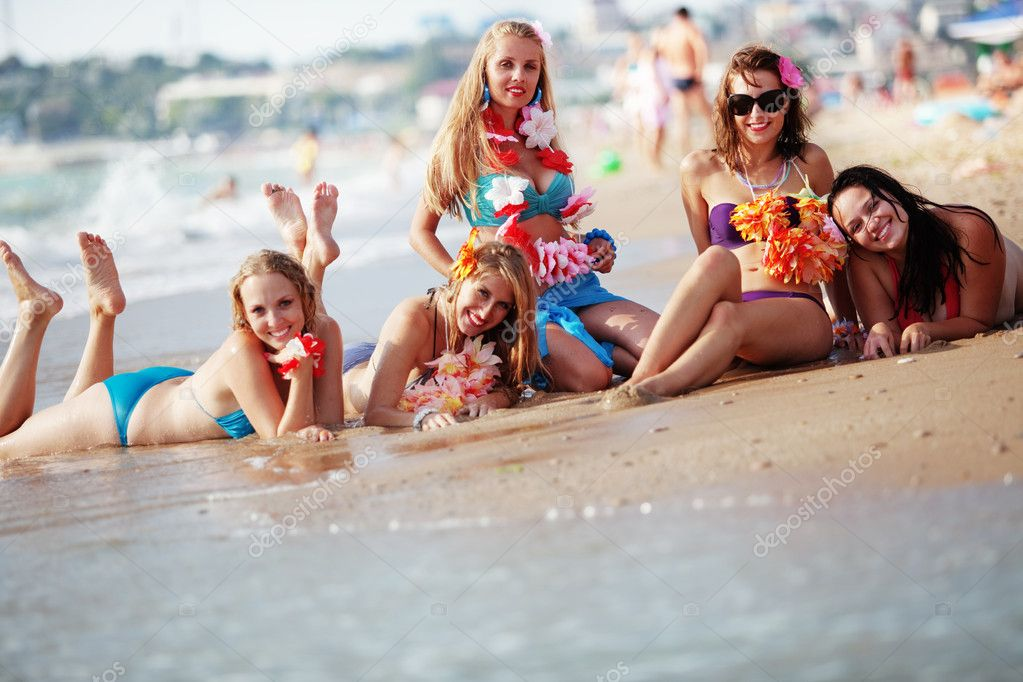 Group of young beautiful girls having fun at beach  Stock Photo #3568517