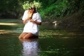 Beautiful girl in river — Stock Photo