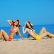 Stock Photo: Girls at beach