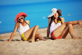 Girls at beach — Stock Photo