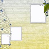Fundo com moldura e flores — Fotografia Stock