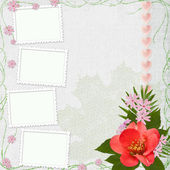 Background with frame and flowers — Stockfoto