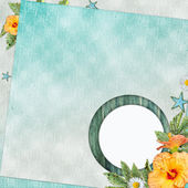 Summer beach background with circle frame — Stockfoto