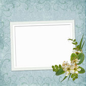 Framework for photo or invitation with bunch of flowers. — Stock Photo