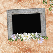 Framework for photo or congratulation with bunch of flowers — Stock Photo