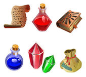 Six icons of magic. — Stock Vector