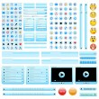Blue web design elements set. - Stock Vector