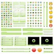 Vector de stock : Green web design elements set.
