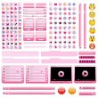 Pink web design elements set. — Stock Vector