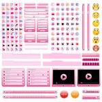 Pink web design elements set. — Stock Vector