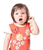 Küçük kız söylüyor — Stok fotoğraf
