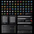 Black web design elements set. On black background — Stockvektor