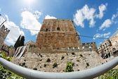 Fisheye uitzicht van citadel in jeruzalem — Stockfoto