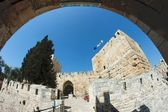 Fisheye view of an ancient citadel in Jerusalem Old City through the arch — Stock Photo