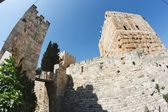 Fisheye view of an ancient citadel in Jerusalem Old City — Stock Photo