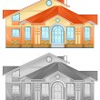 Drawing of country residence — Imagen vectorial