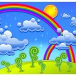 Rainbow landscape — Stock Vector