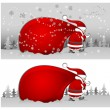 Santa with bag in grey — Imagen vectorial