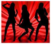 Meninas dançando — Vetor de Stock