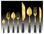 Gold tablewares — Stock Vector