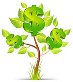 árbol de dólar — Vector de stock
