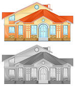 Drawing of country residence — Stock Vector