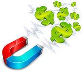 Imán con el dólar — Vector de stock
