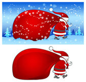 Santa with bag in blue — Stock Vector