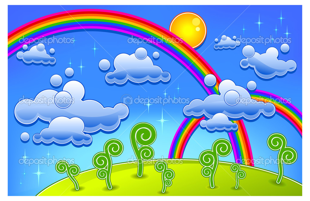 Grass, trees and two rainbow, cartoon lanscape, vector illustration — Stock Vector #2768421