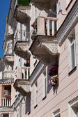 The ancient house with balconies — Stock Photo