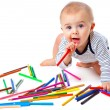Baby with pencils — Stock Photo