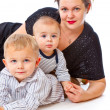 Mother and two boys — Stock Photo