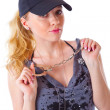 Blond woman with handcuffs — Stock Photo #4021174