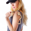 Blond woman with handcuffs — Stock Photo #4021203