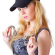 Blond woman with handcuffs — Stock Photo #4021211