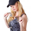 Blond woman with handcuffs — Stock Photo #4021219