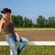 Young cowgirl sitting on a fence — Stock Photo #4022407